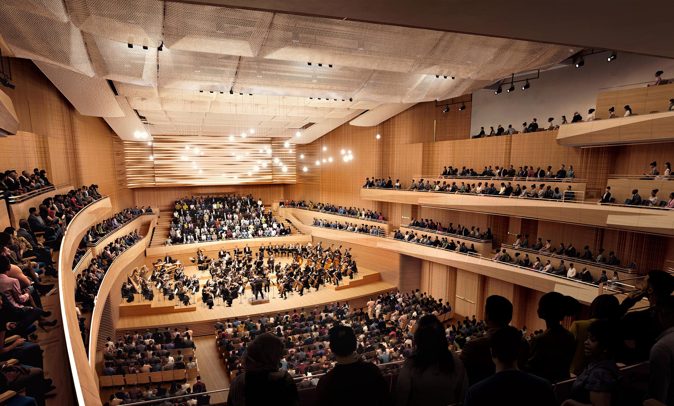 architectural rendering of the new David Geffen Hall in New York City with orchestra and audience