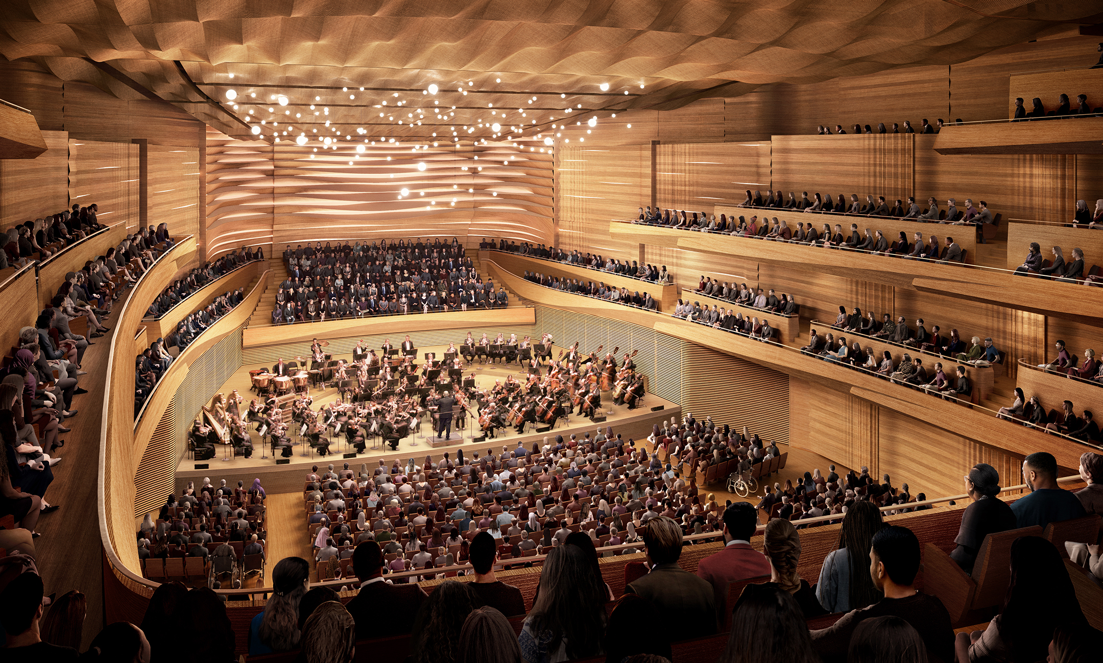 David Geffen Hall interior rendering